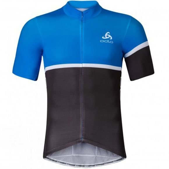 Odlo Kamikaze Stand Up Collar Short Sleeve Full Zip Jersey Blue Jewel