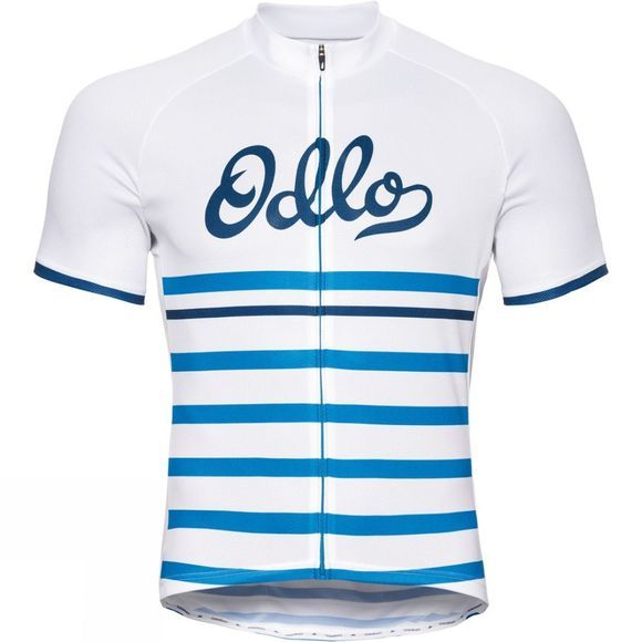 Odlo Mens Fujin Print Stand Up Collar Jersey White - Retro