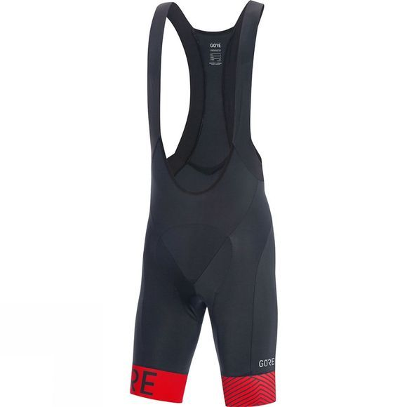 Gore Mens C5 Optiline Bib Shorts+ Black/ Red