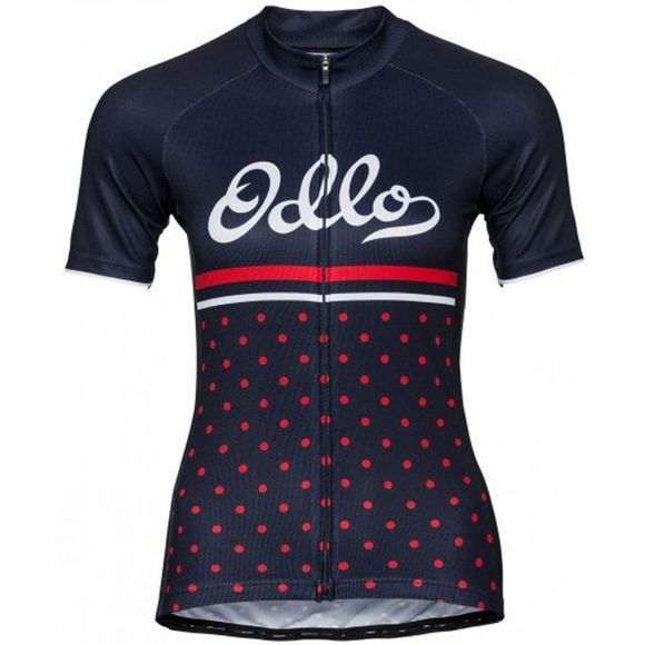 Odlo Womens Fujin Print Stand-Up Collar Jersey Diving Navy/Fiery Red/Retro