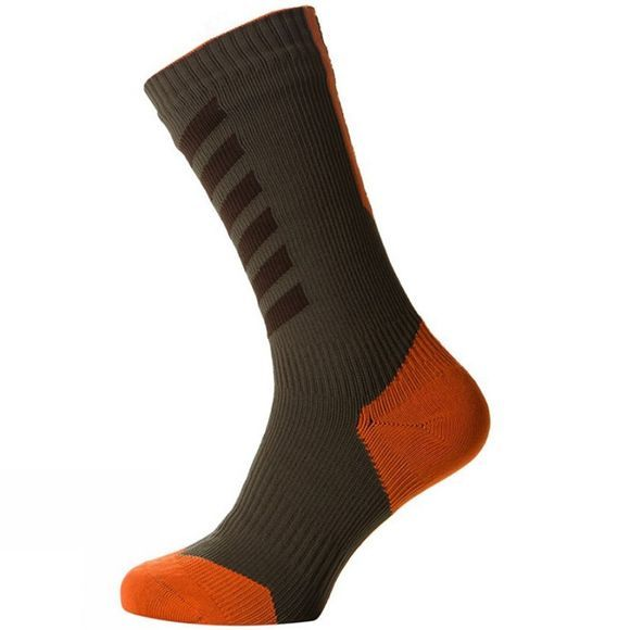 SealSkinz MTB Thin Mid Sock with Hydrostop Dark Olive/Mud/Methyl Orange