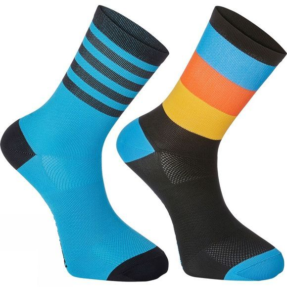 Madison Sportive Mid Sock Twin Pack Black/Cyan Stripe
