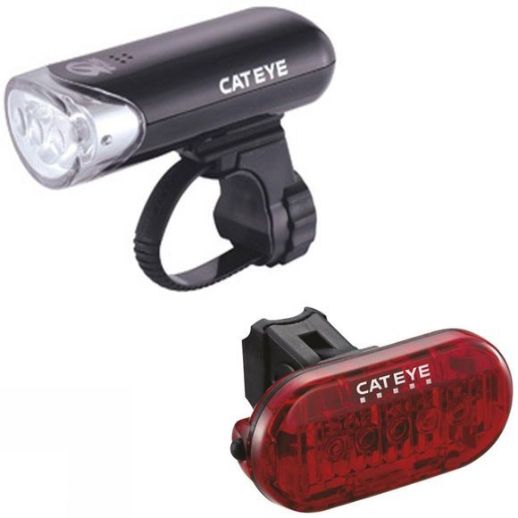 Cateye EL-135 Front and Omni 5 Rear Light Set Black