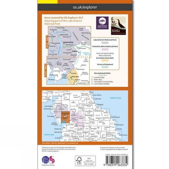 Ordnance Survey Explorer Map OL7 The Lake District - South-Eastern Area V16