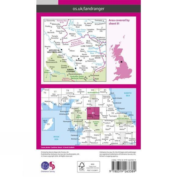 Ordnance Survey Landranger Map 91 Appleby-in-Westmorland V17