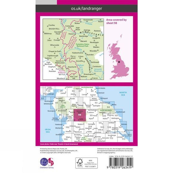 Landranger Map 98 Wensleydale and Upper Wharfedale