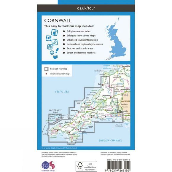 Ordnance Survey Cornwall Tour Map V16