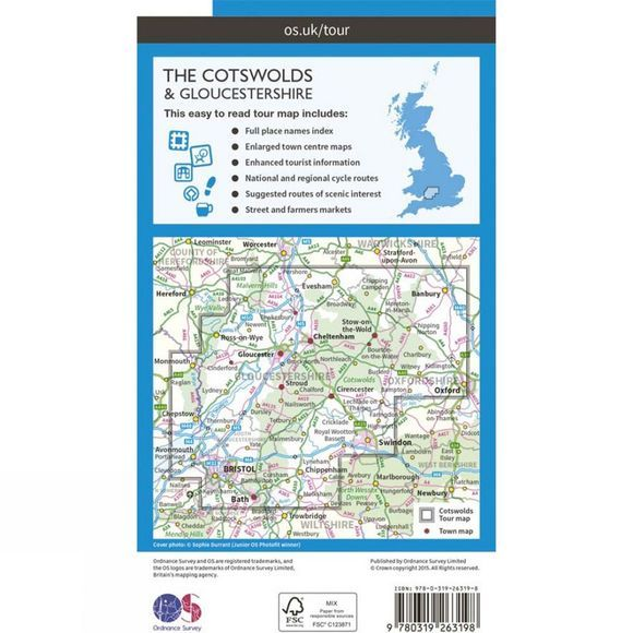 Ordnance Survey The Cotswolds & Gloucestershire Tour Map V16
