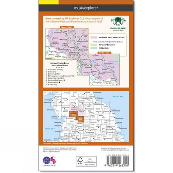 Ordnance Survey Active Explorer Map OL2 Yorkshire Dales - Southern and Western Area V16