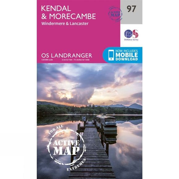 Ordnance Survey Active Landranger Map 97 Kendal and Morecambe V17