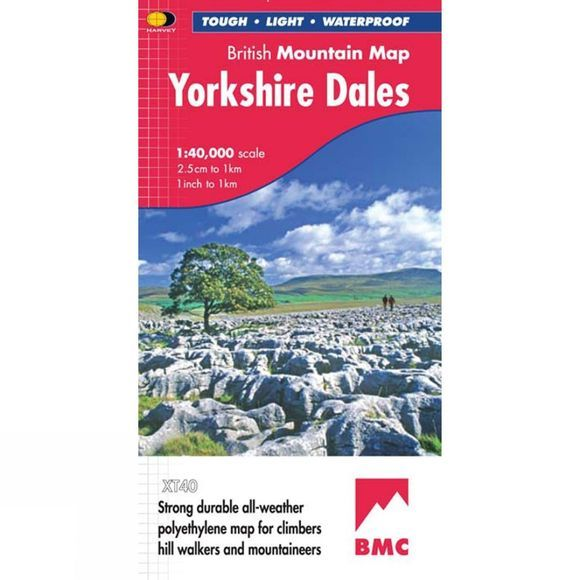 Harvey Maps Yorkshire Dales British Mountain Map 1:40K No Colour