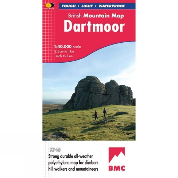 Harvey Maps Dartmoor British Mountain Map 1:40K No Colour
